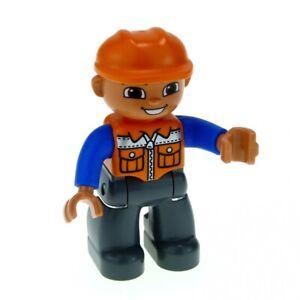1x-Lego-Duplo-Figur-Mann-Bauarbeiter-neu-dunkel-grau-orange-blau-Helm-47394pb156
