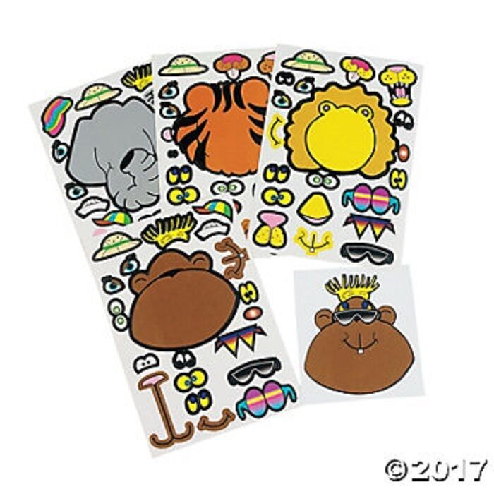 72PCS Make-a-Face Sticker,Fun Woodland Teaching Stickers,Make Your Own Safari Animal Mix and Match Sticker Sheets for Kids Party Favors Supplies、Gift of Festival (72 Different Expressions )
