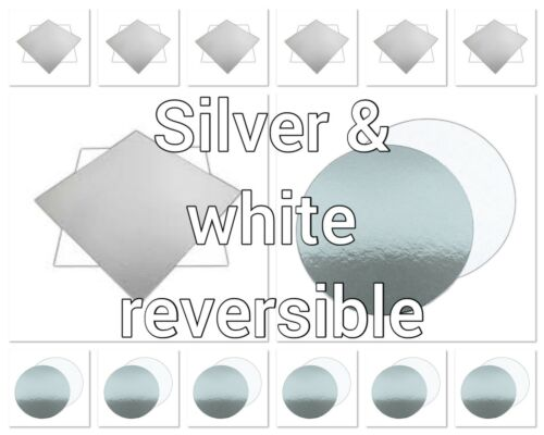 """ROUND /& SQR 3/""""4/""""6/""""7/""""8/""""9/""""10/""""11/""""12 REVERSIBLE WHITE and SILVER 1.5mm CAKE BOARDS"""