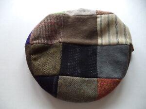 2533c116fc0db New XL Irish Donegal tweed flat cap patchwork Hanna Hat wool vintage ...