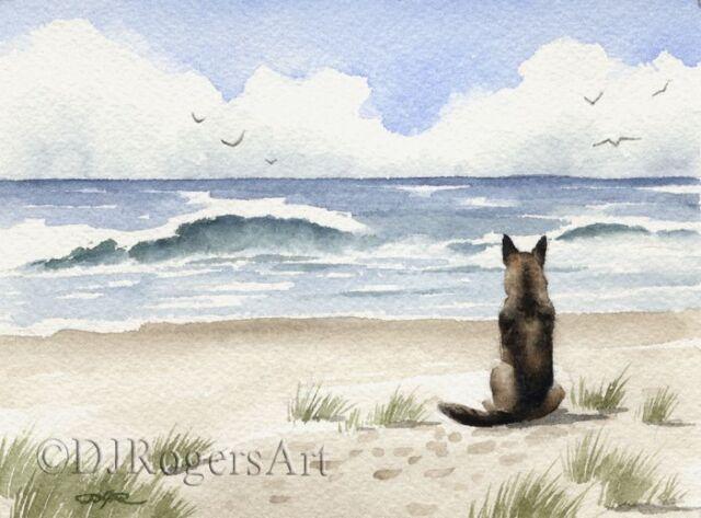 GERMAN SHEPHERD Watercolor DOG 8 x 10 Art Print Signed by Artist DJR