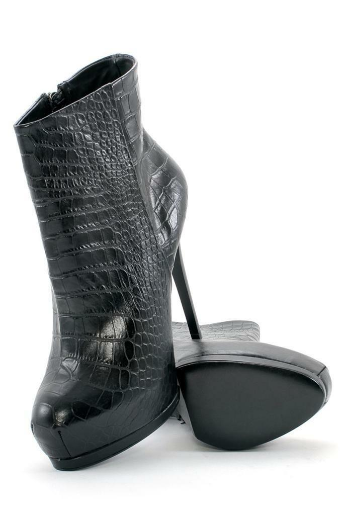 il miglior servizio post-vendita Pour La Victoire Volkova nero Croc-embossed leather Snub Snub Snub stiletto ankle avvioie  il più economico