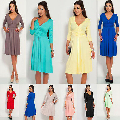 Women's Sexy V-Neck Party Cocktail Pleated Dress Stretchy Maternity Tunic Dress