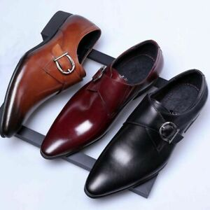Mens-Leather-Slip-On-Italian-Casual-Formal-Brogues-Office-Wedding-Shoes-Boots-UK