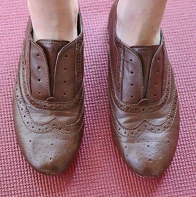 Brash Size 7 Feux Leather Oxfords - Hipster Scholar Nerd School Womens