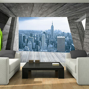 tapete fototapeten tapeten terrasse ausblick new york panorama 3d foto 14n3142p8 ebay. Black Bedroom Furniture Sets. Home Design Ideas
