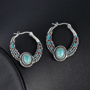 Fashion-925-Silver-Bohemia-Turquoise-Dangle-Drop-Hook-Earrings-Women-Jewelry-TR