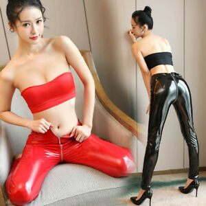 Womens-Shiny-Vinyl-PU-High-Waisted-Skinny-Wet-Look-Leggings-Trousers-Pants-Party