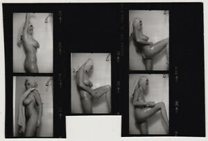 Original-vintage-1970s-Uschi-Digart-nude-5-images-composite-contact-print