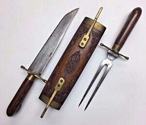 Vintage India Knife Fork Carving Set Hand Carved Wood Brass Case