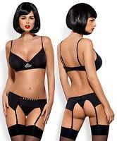 OBSESSIVE Gretia Luxury Underwired Bra, Suspender Belt and Matching Thong Set