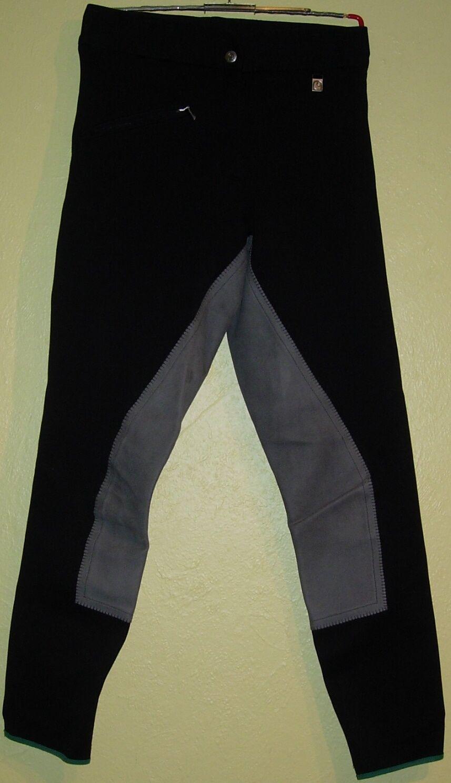44 ) Tolle schwarze Reithose mit grauen VB Gr. 80 der Firma  Cavallo Chalypso  | Wir haben von unseren Kunden Lob erhalten.  | Angenehmes Aussehen  | Lebensecht