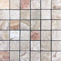 Scabos 2' X 2 Tumbled Travertine Mosaic Tile