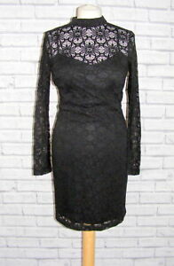 size-10-Jessica-Simpson-lace-party-dress-high-neck-long-sleeve-wiggle-black