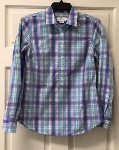 Vineyard Vines Womens Sz 2 Popover Long Sleeve Button Up Plaid Shirt Blue