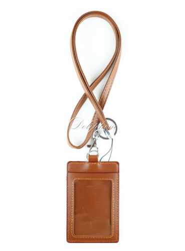 Leather Lanyard with 1 Window and 1 Slot 4 layers Vertical ID Badge Name Holder
