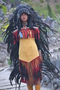 Long Native American Indian Black White Feather Headdress Costume War Bonnet