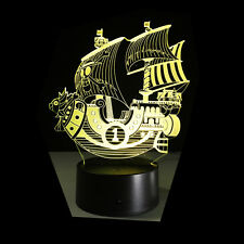 3D Acrílico Luz de noche Lámpara nocturna diseño ONE PIECE Barco THOUSAND SUNNY