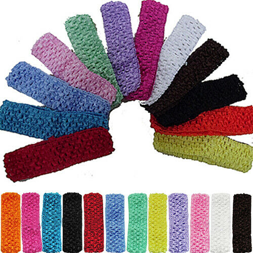 12Pcs Toddler Baby Kid Girl 12 Color 1.5Inch Crochet Headbands Hair Bands Trendy