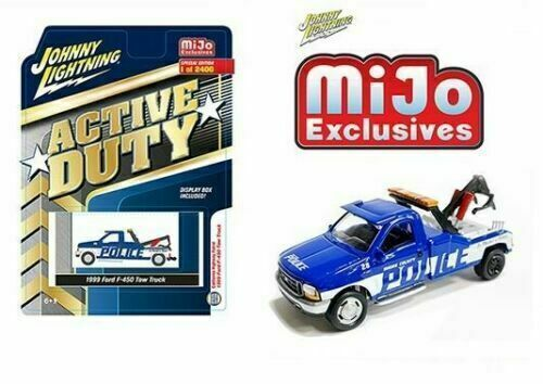 Johnny Lightning 1//64 Ford F-450 Police Tow Truck Wrecker MIJO XCL JLCP7255