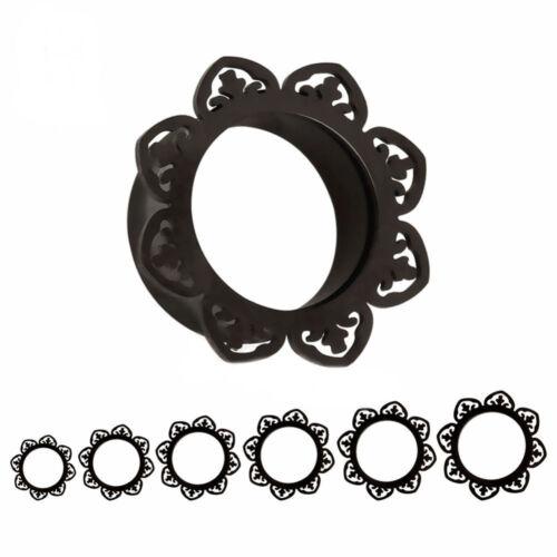 Doble abocinado Floral Negro Acero Oído túneles de carne Piercing Joyería TU98