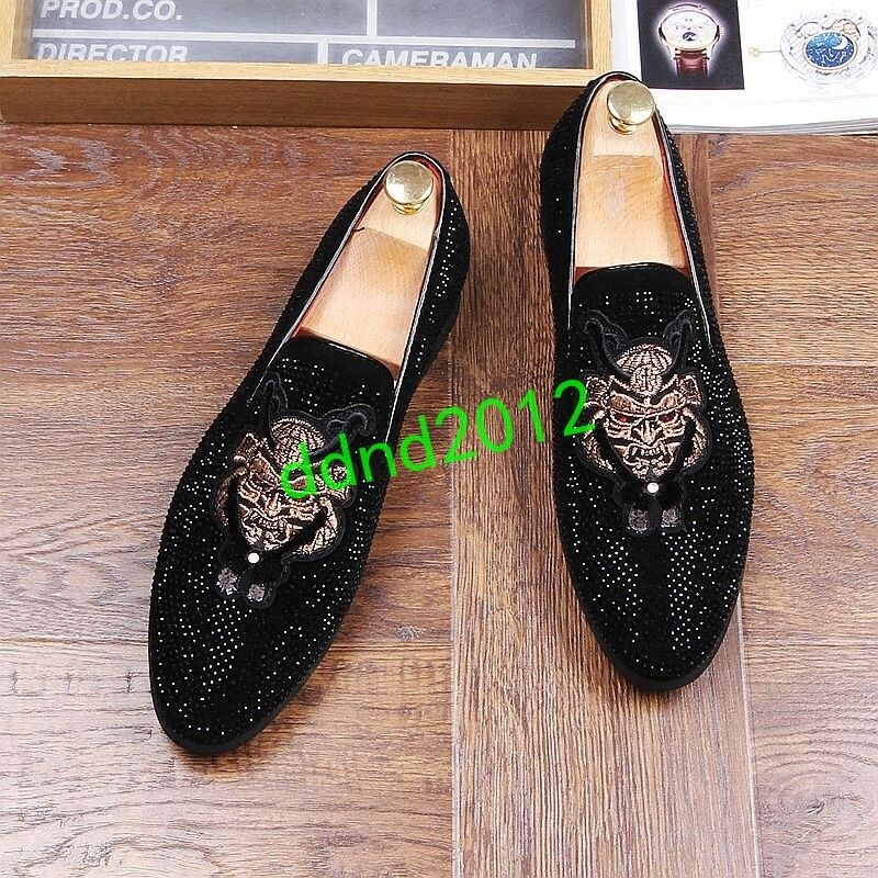 Punk Men Leather Round Toe Rivet Sequins Embroidery Slip On casual loafers shoes