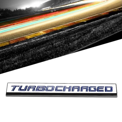 Blue//Chrome TURBOCHARGED Logo Plate Sport Trunk Metal Badge Decal Sticker Emblem