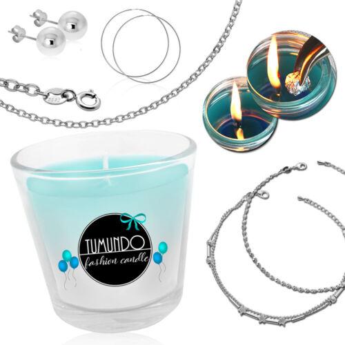 Schmuckkerze Kerze+Schmuck Ohrstecker Halskette Armband Geburtstag Überraschung