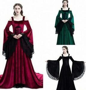 Medieval-style-lace-off-shoulder-dress-long-skirt-Bell-Sleeve-slim-party-dresses
