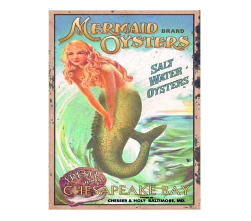 Mermaid salt water oysters vintage style metal wall plaque sign
