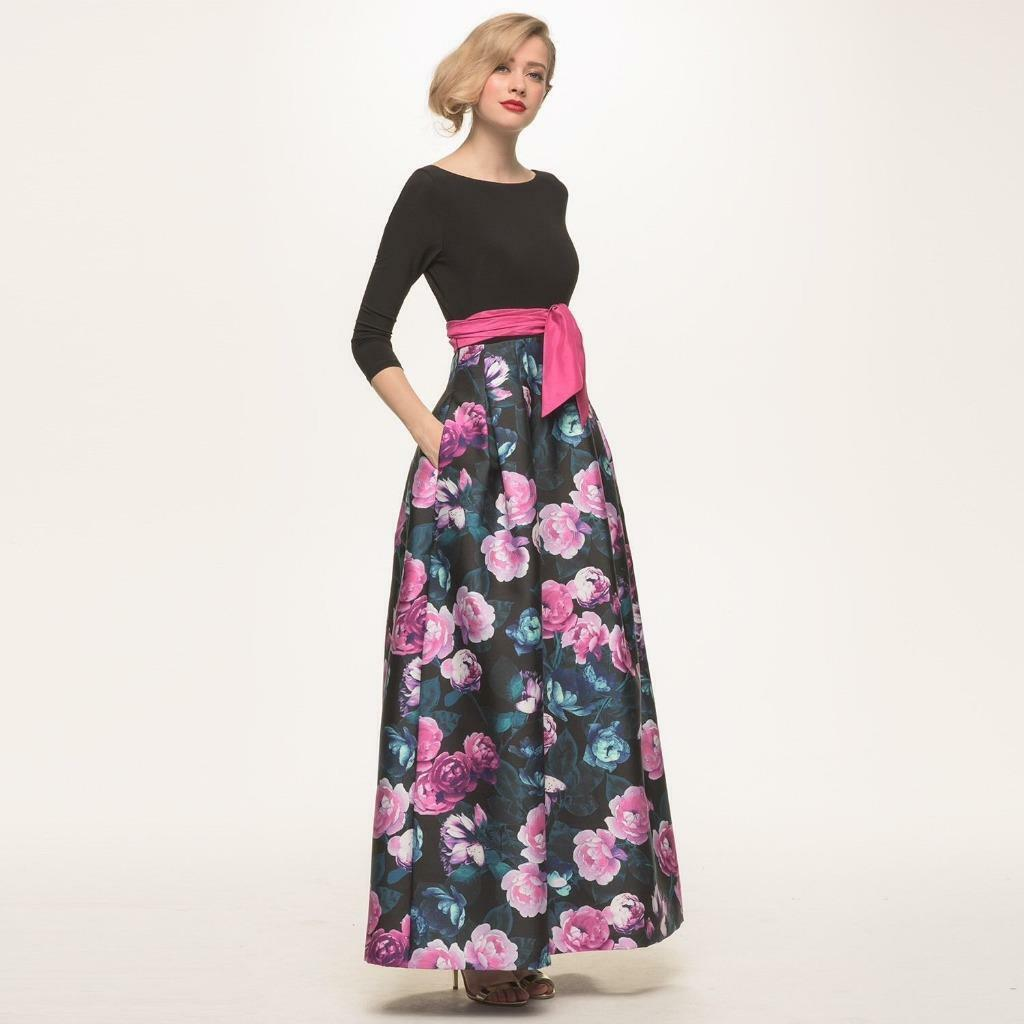 Eliza J Combo Jersey & & & Floral Faille Gown-Size 6  (F) af84a2