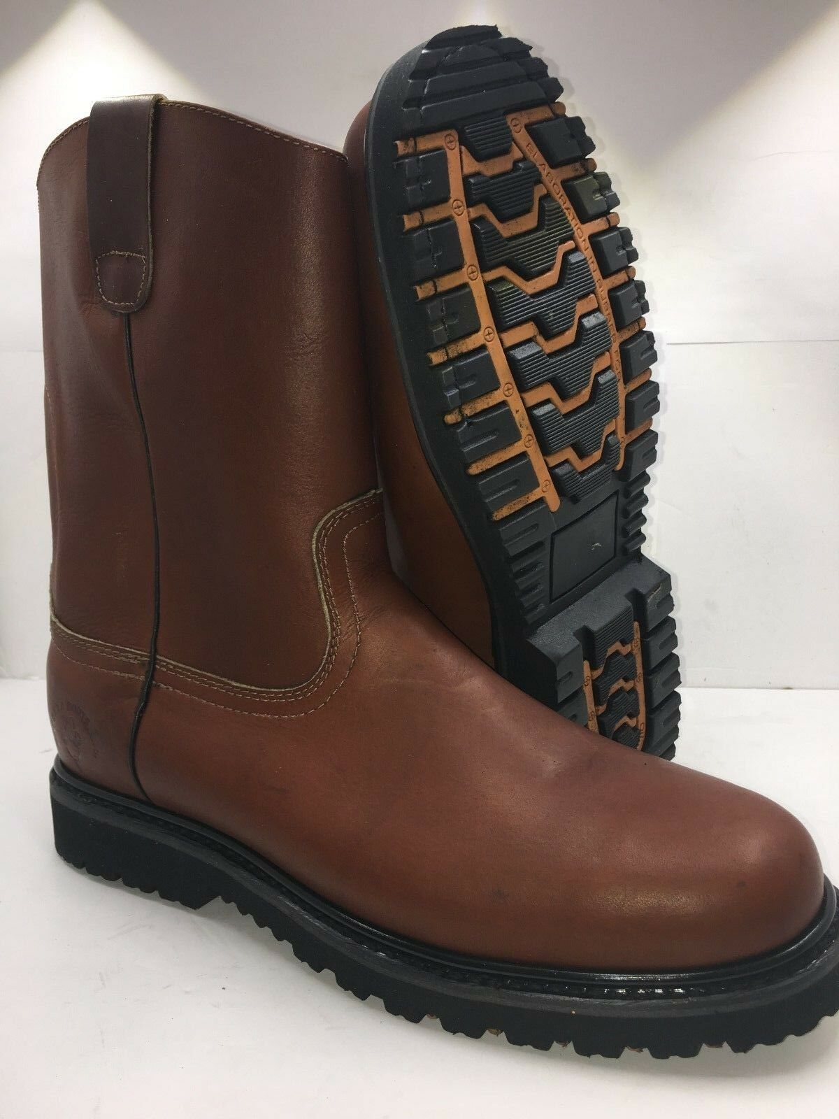 Men's Work Boots Pull On Leather Brown Bota de tubo de trabajo Cafe 100% Piel