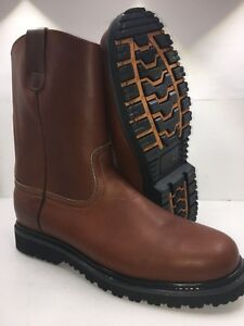 Men-039-s-Work-Boots-Pull-On-Leather-Brown-oil-slip-resistant-Sz-7-13-Bota-trabajo