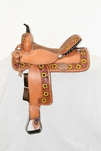 "Alamo Saddlery 15"" Sunflower 2 Border Barrel A13285 Medium Bar"