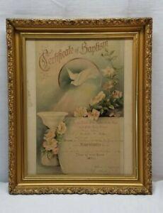 Antique-York-Co-Pennsylvania-Baptism-Certificate-Gold-Gilt-Wood-Frame-17x14-Old