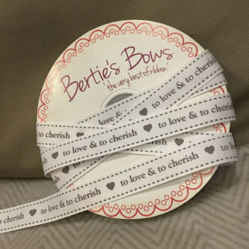 "Bertie/'s Bows 16mm White /& Grey Grosgrain /""To Love /& To Cherish/"" Ribbon Wedding"