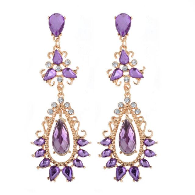 Mujer Moda  Pendientes Largos Aretes Cuelga Púrpura Cristal Diamante Earring
