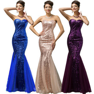 Long Sparkly Mermaid Formal Dress Bridesmaid Evening Party Ball Gown Prom Dress