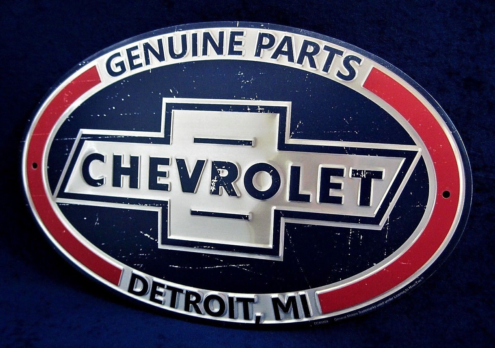 Man Cave Garage Bar CHEVROLET Genuine Parts *US MADE* Oval Embossed Metal Sign