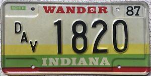 GENUINE-Indiana-Wander-Disabled-American-Vet-License-Licence-Number-Plate-1820