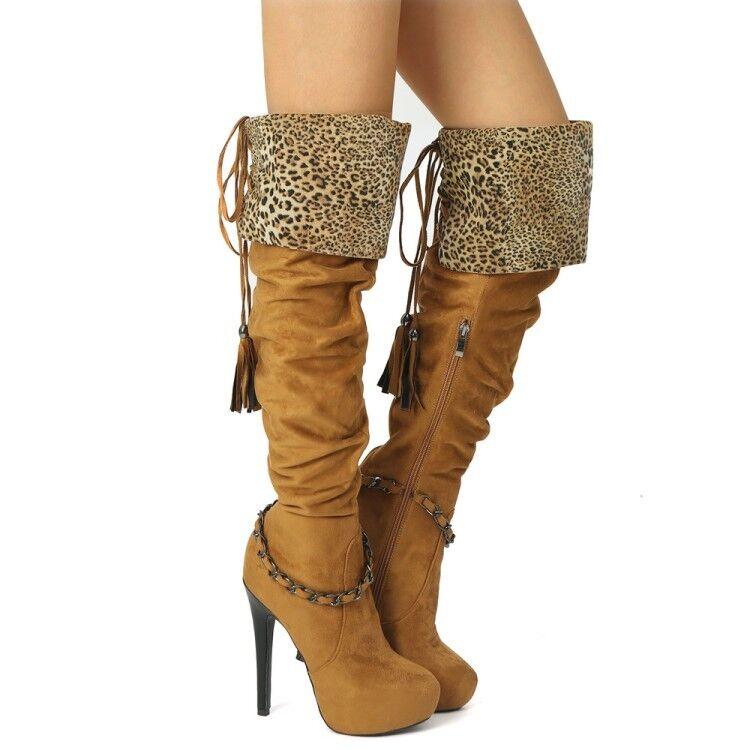 Donna Moda Leopardo con con con Nappa Tacco Alto Stivali Slouch Overknee Scarpe Xun d02fcd