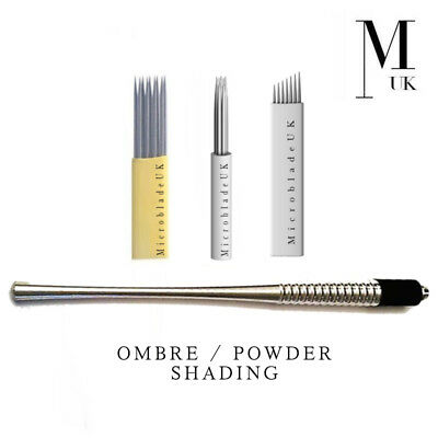 Tattoo Needles, Grips & Tips Ombre Powder Brow Set 21 Shader Bunch Needle Double Row Blade Lovely Microblading