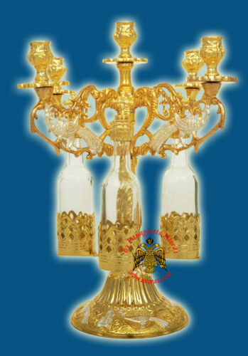 Orthodox Artoklasia 5 Candles Stand Gold Plated 3 Glass Bottles 3 Size Litia