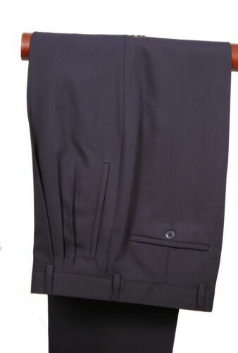 3 pleat classic Fit Made In Italy Style 400205 Navy Mens Dress Pant 100/% wool