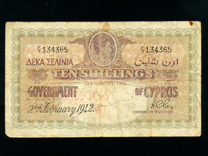 Cyprus:P-23,10 Shillings,1942 * King George VI * RARE *
