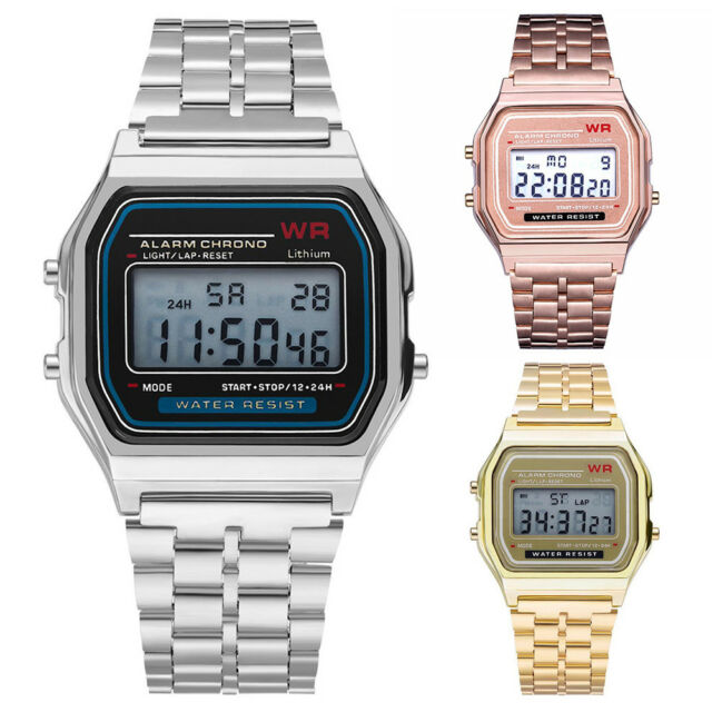 Simple Men Women Digital Display Square Dial Alarm Stopwatch Wrist Watch Conven