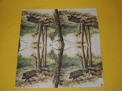 Servilletas de decoupage 5 de 1//4 madera de jabalí ejecutar jabalí bosque