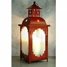 Vintage Style Large Metal Lantern - Candle Holder - Dark Red