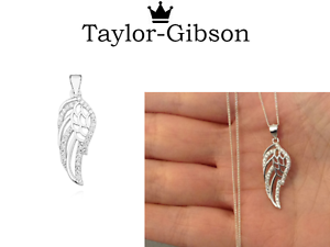 a12f66c01 Image is loading 925-Sterling-Silver-Guardian-Angel-Wing-Necklace-or-