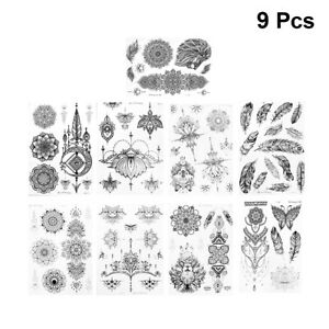 9-Sheets-Temporary-Tattoo-Sticker-Disposable-Vintage-Mandala-Flower-Body-Sticker